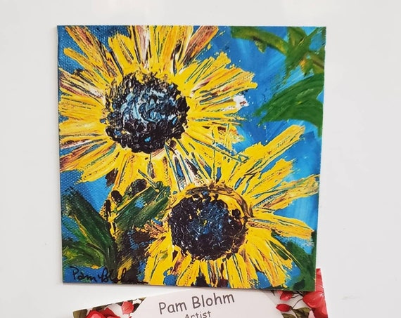 "Art MAGNET ""Two Sunflowers "" 3.5"" x 3.5"" small art/kitchen decor/gift idea /flower art by Pam Pam Blohm /gift idea /made in USA"