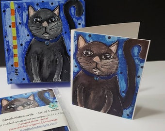 Artist  Blank Note Cards /Maxine the cat/ Set of 5 cards gift packaged / Fun stationery / Printed in the USA