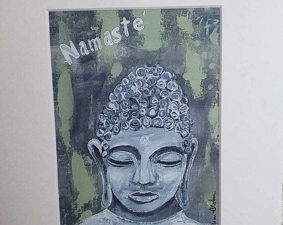 """Artist Print """"Namaste' """" Young Buddha  from original painting by Pam Blohm / sage green and gray tone/White 8x10 Mat"""