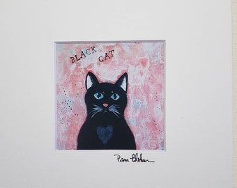 """Artist PRINT """"Black Cat"""" from original painting / 4x4 White matted to 8x8/ Cat artwork / Home Decor/ Wall art/"""