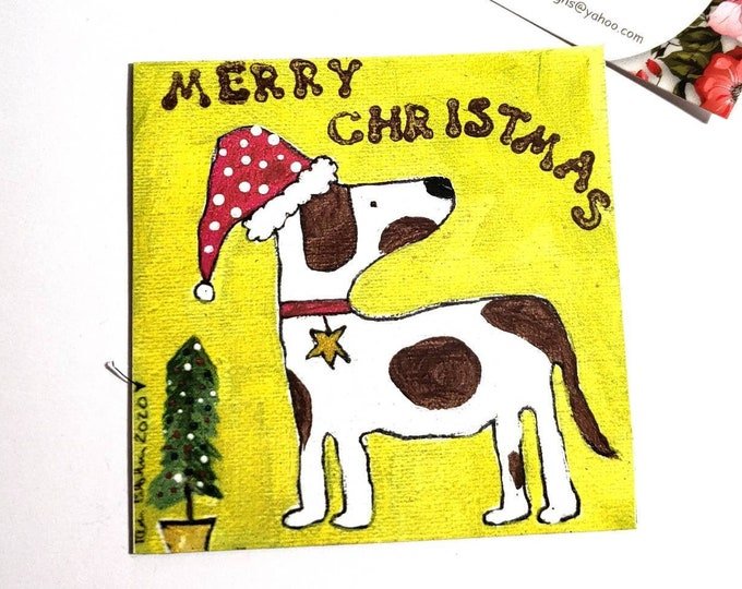 "Art MAGNET  ""Merry Christmas""  Santa Dog - created from original Pam Blohm artwork - Stocking Stuffer for DOG LOVERS -  kitchen small art"