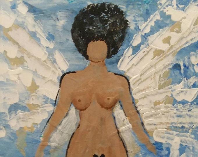 "Angel ""Taking Flight ""  12x16 NUDE dark skinned Angel - original acrylic painting- Abstract-Angel art-Man Cave art-Nude Artwork"