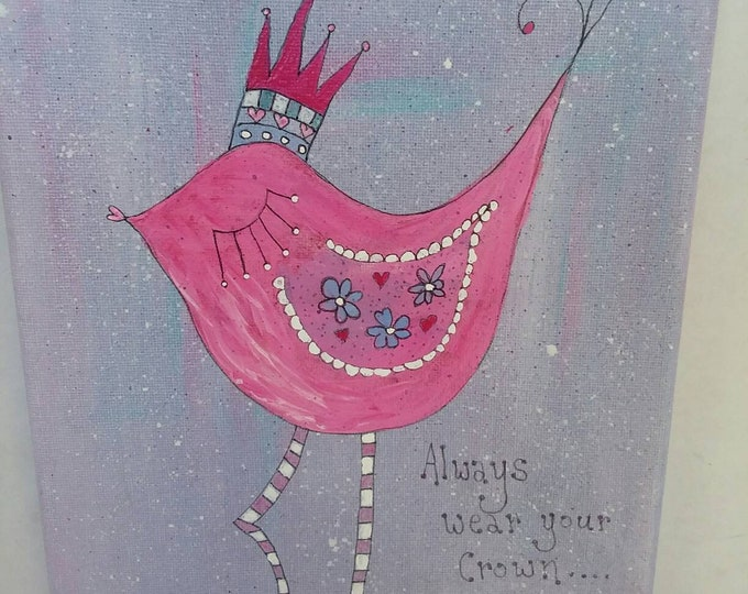 """Pink whimsical bird with crown.  """"Always wear your Crown"""" is her message. 8x10.Nursery art / girls room art/Whimsical/whimsey/pink/girlsroom"""