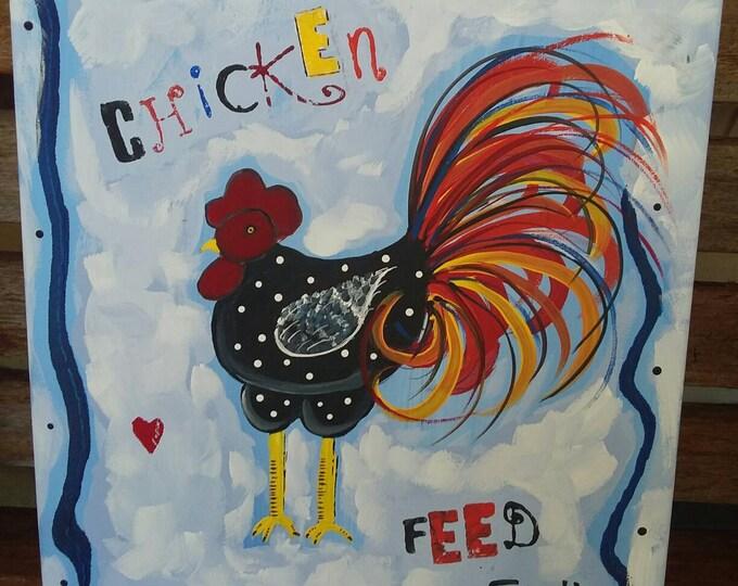 "Folk art ""Chicken Feed"" design. 11×14 original acrylic.  Farmhouse Decor/ Kitchen Art / Chicken art. Free shipping"