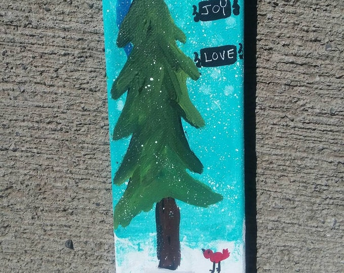 "One of a kind/ Handpainted / ""Peace, Joy, Love"" holiday accent/  3x9 canvas/ Holiday Decor/Christmas/ home or office accent"