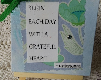Mixed media insprirational art/ 4x4 Mini canvas with easel / WORD ART / Home decor/ home accent/ motivational art