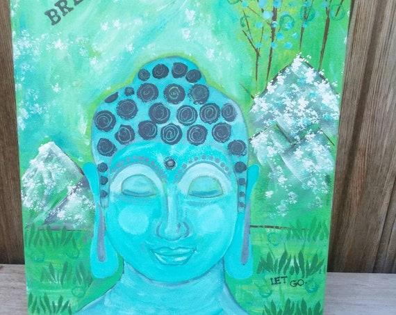 "Original ""Buddha on Retreat"" Abstract Acrylic/ 12x16  Painting /Encouragement/Breathe/Let Go/ Buddha head/buddhism/religious art/Tebetian"