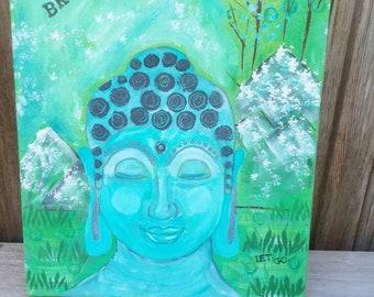 "Meditating ""Buddha on Retreat"" -Original Acrylic Painting -12x16 Canvas - Zen art - Home decor-Wall art"