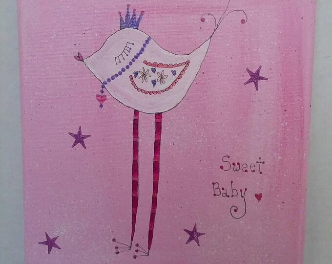 "Original Abstract Acrylic &Ink Painting ""Sweet baby"" Whimsical Bird  8x10 /Nursery Art/Whimsical/ Girls Room/Nursery Decor/Crown art"