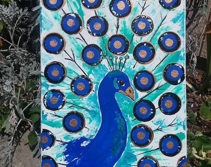 "Modern Peacock Art ""Beautiful Blue "" Original a acrylic painting / 12x16 Zoo Theme Nursery Decor/home Decor/wall art/dorm art/nursery art"