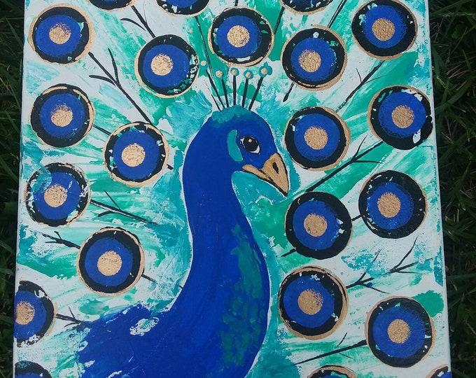 "Peacock ""Beautiful Blue "" - 12x16 MODERN art - Original acrylic painting - Zoo Theme Nursery Decor -home Decor-  Bird Wall Art"