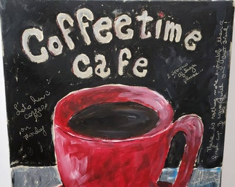"Old Time - Kitchen wall art ""Coffee time Cafe"" /16x20 original acrylic painting/ restaurant art /illustration painting"