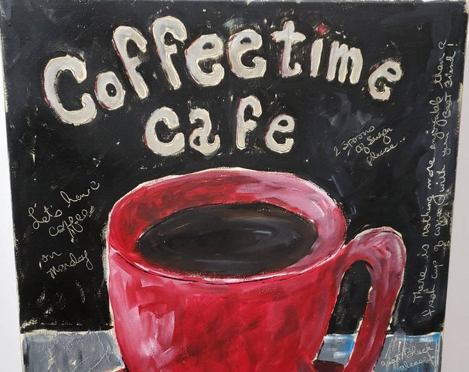 """Old Time - Kitchen wall art """"Coffee time Cafe"""" /16x20 original acrylic painting/ restaurant art /illustration painting"""