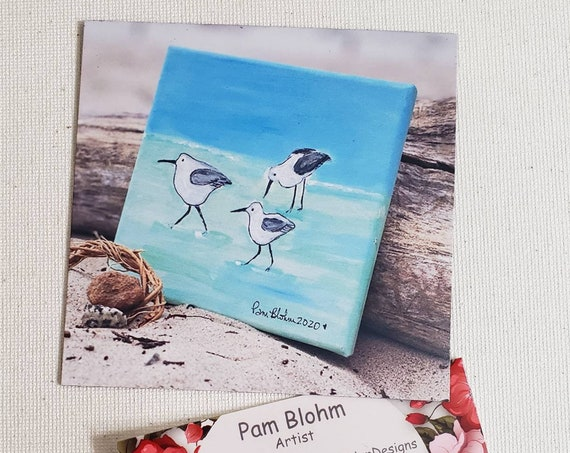 "Artists Ocean Birds Refrigerator magnet "" Shorebirds on the beach"" / 3.75 x3.75 metal surface small art / kitchen-office decor"