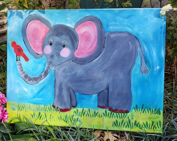 "Elephant Painting "" Ellie "" / Original Acrylic artwork /  12x16  nursery room Decor /Whimsical Animal art/Zoo Decor"