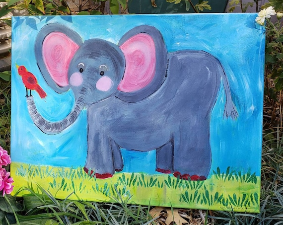 "Original Acrylic Zoo Elephant "" Ellie "" / 12x16  nursery room or kids room Painting /Whimsical fun16"
