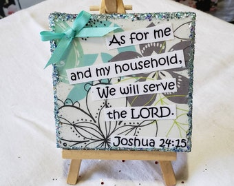 Bible Quote-  Joshua 24:15  / Small art Mixed Media/  bible verse artwork / One of a kind gift idea  / 4x4 Wordart canvas