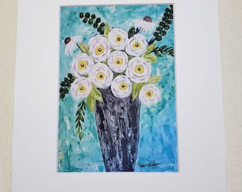 Fine art Floral art PRINT / 5x7 white matted to 8x10 /Print in the USA