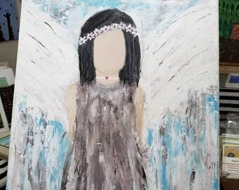 "Original Acrylic Painting / ""Moon Child""  / 18x24  Boho Hippie Angel/ Bohemian art/gypsy decor/Spiritual  Art/Native American"