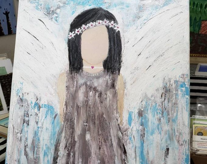 "Boho Hippie Angel ""Moon Child"" -18x24 Original Acrylic Painting - Bohemian art -gypsy decor-Spiritual Angel Art"