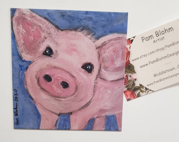 """Art MAGNET / """"Pink Piggy"""" Farmhouse  Gift Idea/ Stocking Stuff /Made in the USA"""
