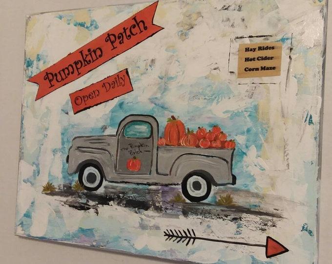 Pumpkin Patch Delivery Truck/ Pumpkin Art / Fall Decor/ Fall Signs /Farmhouse Decor -Mixed Media Art / 11x14. Free Shipping