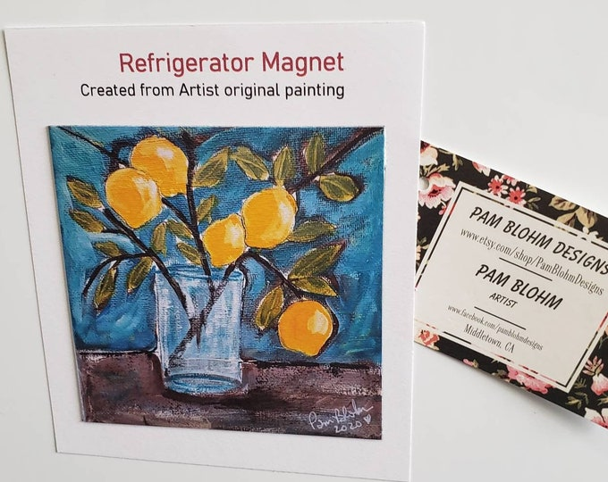Lemon Branch ART MAGNET kitchen decor/magnet collector gift idea /office small art/made in USA