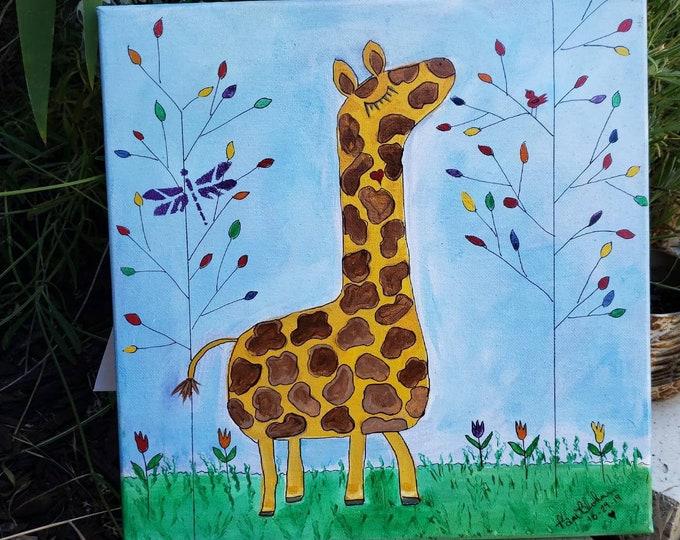 "Giraffe Art   ""Bongo's Playtime"" - 12x12 Original acrylic Painting  -Zoo Theme Nursery Art - Wall art Home Decor"