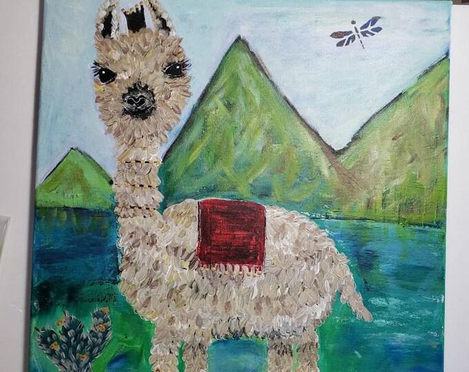 """Farm Animal """"Dexter the Llama"""" -16x20 Original Acrylic Painting-Nursery or Childs room Wall  Art- Farmhouse Art-Whimsical  Art"""