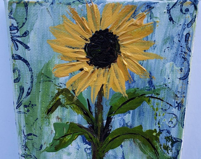 """Flower art """"Yellow Sunflower"""" original acrylic painting-5x7 wrapped canvas - Small Gift - Flower wall art"""
