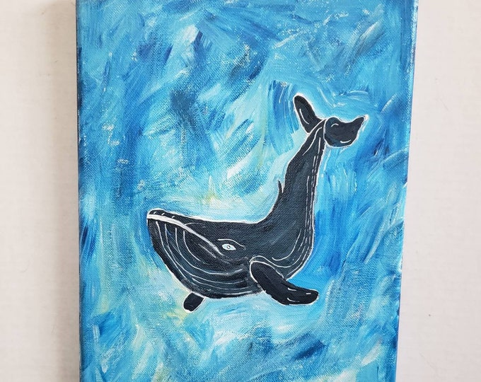 "Ocean  Whale Art ""Exploring the Deep "" Original acrylic painting - 9x12 Sealife Wall Art- Home Decor- Diver Gift Idea"