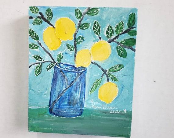 "5x6 Original Acrylic Painting on deep wood canvas / ""Hangin' Out"" Lemon Branch Kitchen decor ."