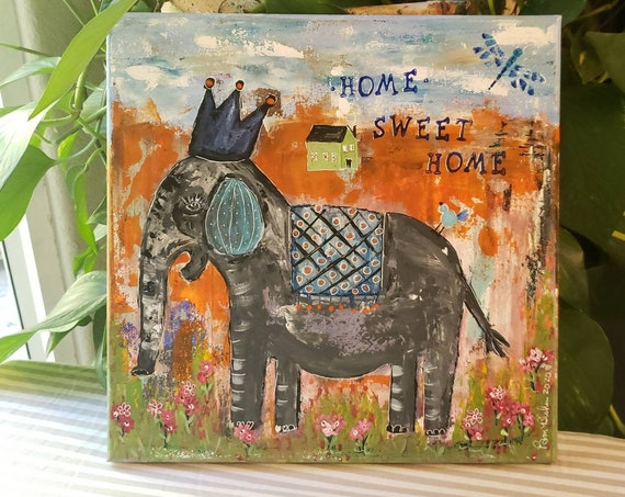 "Boho chic / ""Home Sweet Home"" Crowned Elephant Art / whimsical Wall Art /12x12 Canvas Home Decor / illustration art"