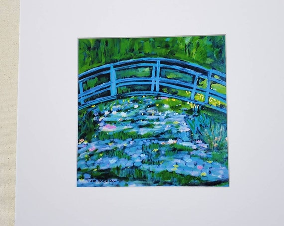 "Artist Print "" Tribute to Monet "" /  10x10"" wall art from artist original /Lily Pond art"