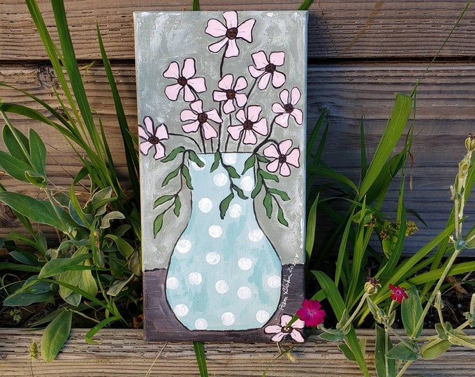 """Pink abstract Flowers   """"Spring Fling"""" - 7x14 Original Acrylic Painting -  Floral art wall hanging - Flowers home decor -Nursery Wall art"""