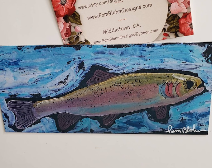 """Art MAGNET """"Rainbow Trout"""" /  from original acrylic painting 3.0"""" x 6.25"""" /Fisherman gift idea /Stocking Stuffer for  boy or man"""