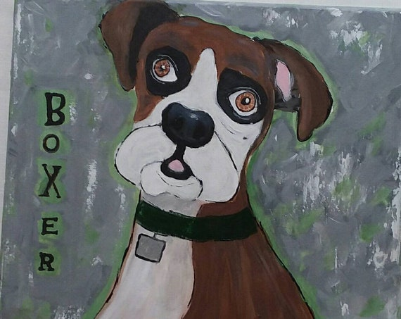 "Dog Art ""Boxer Puppy"" Original acrylic Painting /12x12 Wall Art /Man Cave art/ Puppy Love"