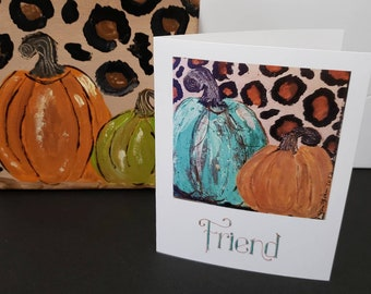 "Artists blank note cards / ""Friend""  Fall pumpkins/  set of 5 gift packaged / Art by artist Pam Blohm"