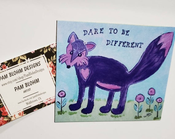 "Art MAGNET ""Dare to be Different""  FOX art / small art  kitchen decor /LBGTQ gift idea"