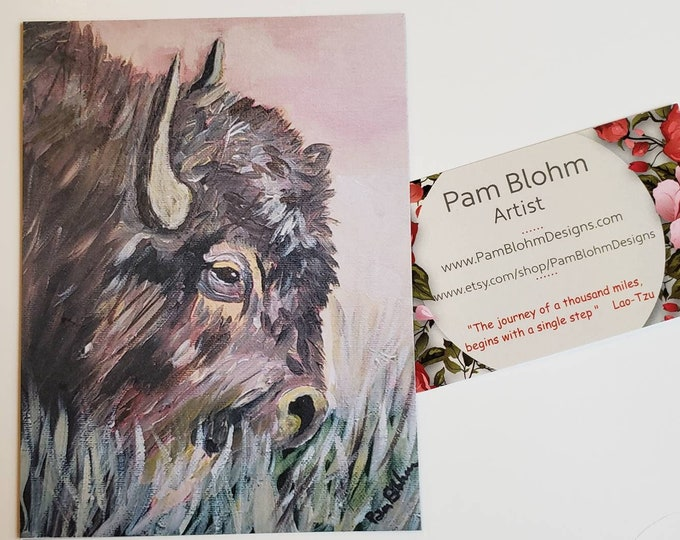 """Artist Magnet """"Grazing Buffalo"""" - Small art Kitchen Decor- 3.75x5 inch strong hold magnet-Bison Magnet"""