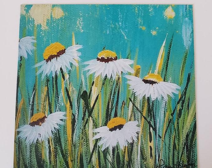 "Fine art ""Field Daisies"" Fridge MAGNET from artist original painting/3.25x 3.50 inches"