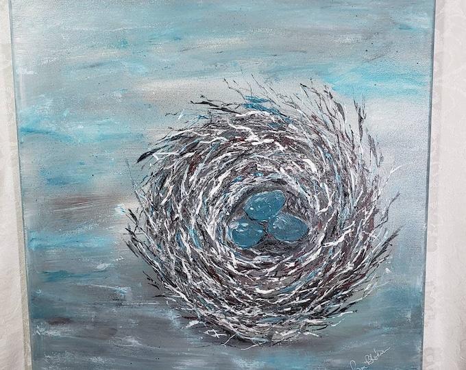 "Large Art  "" Nesting Hearts"" / Original 20x20 Nest Acrylic Painting/ 3 Eggs Nest Wall Art/3 Children Home Decor/ Nature Artwork"