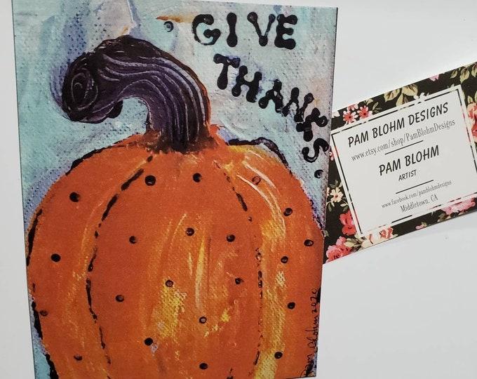 """Art MAGNET  """" Give Thanks"""" Fall decor - Pumpkin art - Thankful gift idea - Encouragement word art - made in USA"""