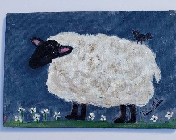 "Folk art Sheep / "" Fat and Fluffy "" / 4x6 Canvas Panel/ original acrylic painting/ Home decor/ wall art/ Tiered Tray Decor"