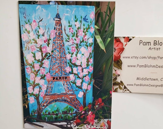 "Art MAGNET ""Paris Eiffel Tower with Cherry Blossoms"",  Flexible and strong hold Magnet 3.25"" x 4.50"" / made in USA"