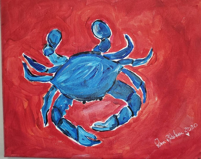 """A  """" Blue Crab """" Original acrylic painting- 8x10 kitchen decor -restaurant wall hangings- seafood paintings"""