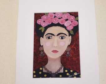 """Artist PRINT """"Tribute to Frida"""" from original painting by artist Pam Blohm/ 5x7 Print White Matted to 8x10"""" Frame Size / Frida portrait art."""