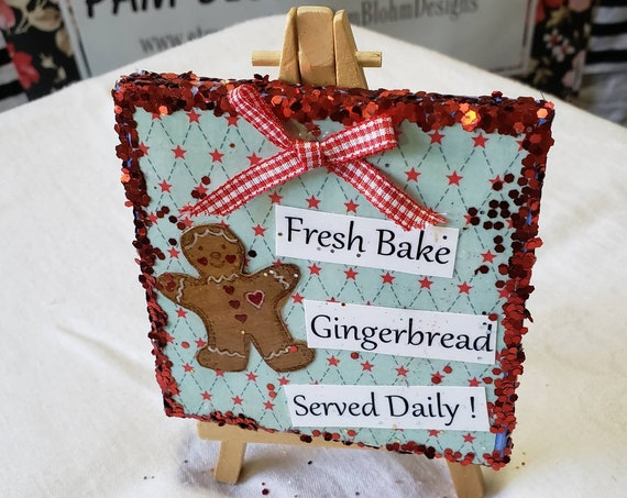 "Mixed Media Christmas decor.  4"" x 4"" canvas Gingerbread Kitchen Easel art. Glittered gift idea"