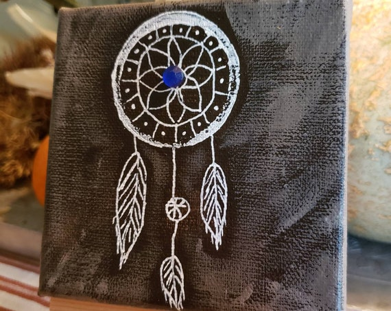 "Small art ""Dream Catcher"" Western Theme / original painting  Includes easel, shipping , and blue rhinestone."