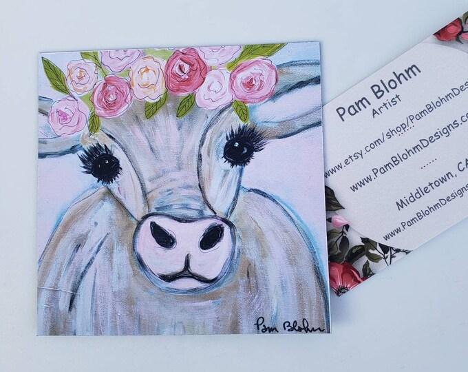 "Artist MAGNET from original painting ""Miss Molly Moo Moo"" /3.5x3.5 small art magnet gift idea / Farmhouse art"